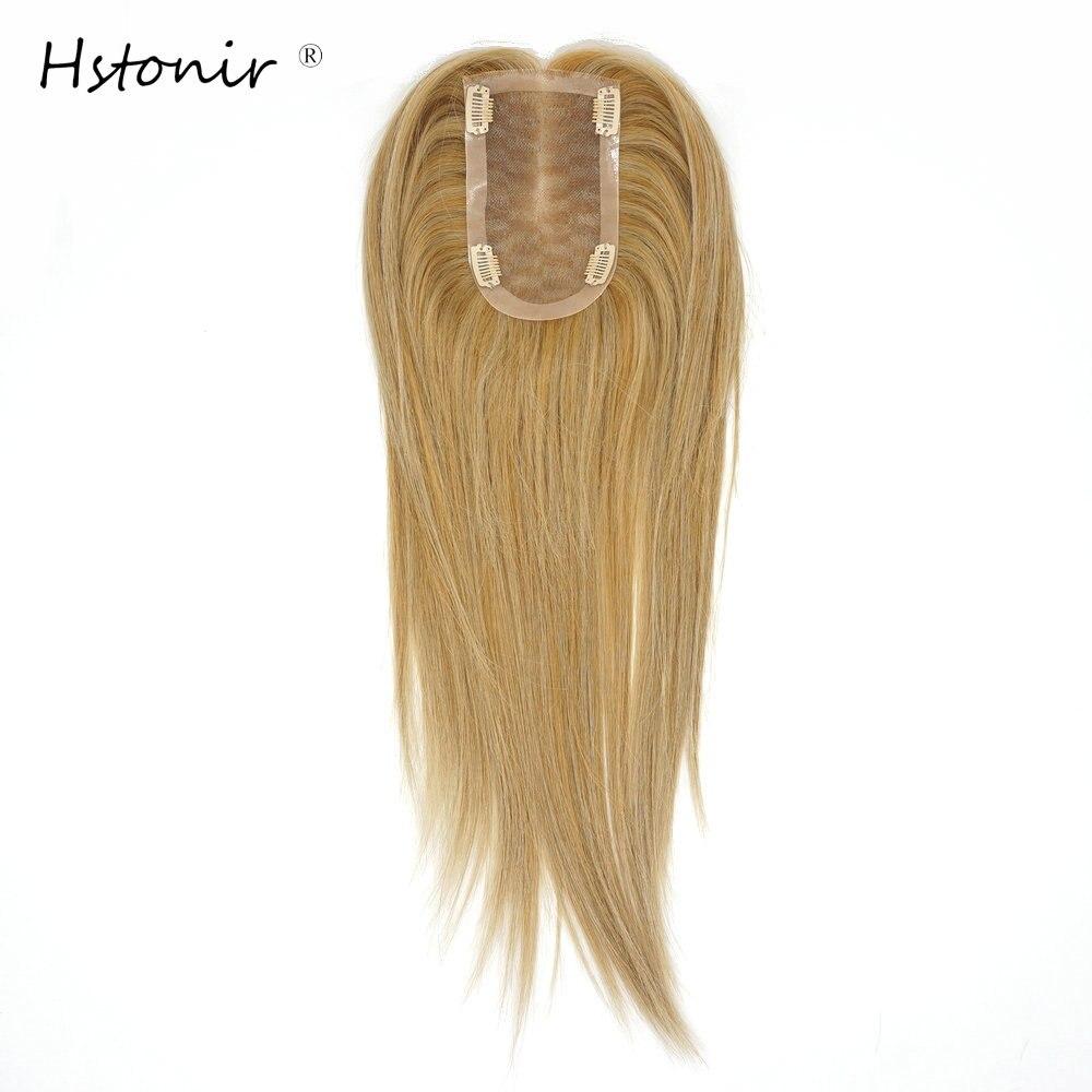 Hstonir 27/613 Mono Lace Clip Topper European Remy Hair Toupee For Women Hair Replacement Human Hair System Top Piece 14'' TP29