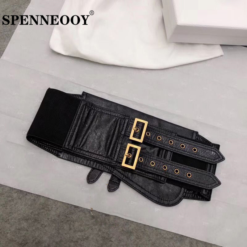 SPENNEOOY Designer Custom Runway Genuine Leather Black Cummerbunds Women's Fashion Clothing Accessories Width Girdle