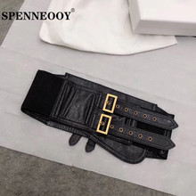 SPENNEOOY Designer Custom Runway Genuine Leather Black Cummerbunds Women's Fashion Clothing Accessories Width Girdle