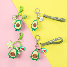 Creative cute avocado key Chain Cartoon Epoxy fruit pvc doll bag pendant car chains bags accessories For Woman gifts keyring