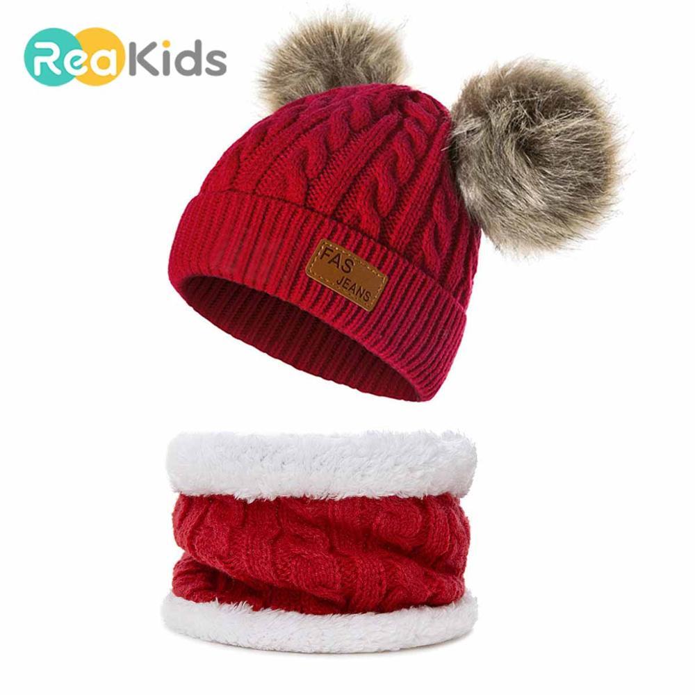 REAKIDS детские зимние шапки Pom теплая шапка для младенца меховые шарики девочек и мальчиков шапки s зимние детские шапки s толстые вязаные детс...
