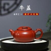 Berühmte handwerker der alle hand made red clay topf  raw erz  Dahongpao  tee topf  ausgezeichnete rindsleder teekanne-in Teekannen aus Heim und Garten bei
