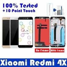 ЖК дисплей с рамкой для Xiaomi Redmi 4X, 10 дюймовая сенсорная панель, ЖК дисплей для Redmi 4X, дигитайзер, рамка в сборе, запасные части