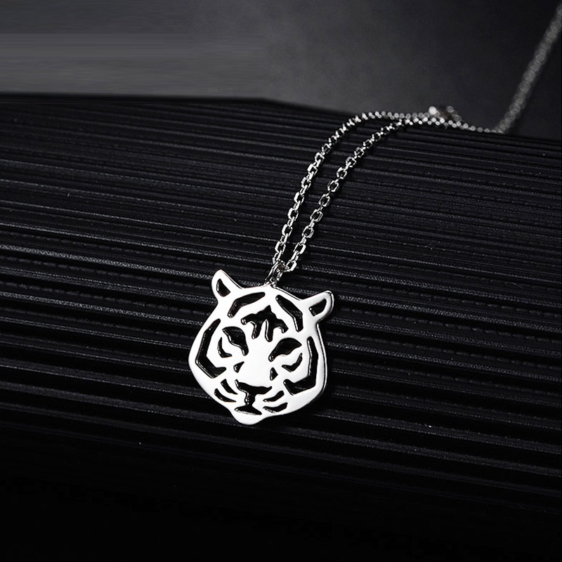 Unique Panther Silver Animal Pendant Necklace w Cubic Zirconia Leopard Tiger Cat