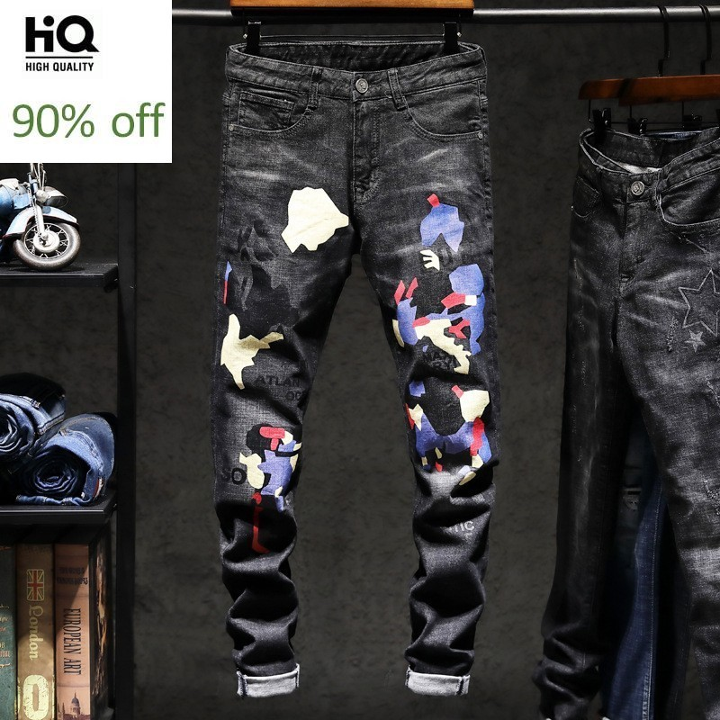 Denim Jeans Men Fashion Slim Fit Print Pants Straight Full Lenght Streetwear Cowboys Pant Man Motor Men's Jean Kot Pantalon
