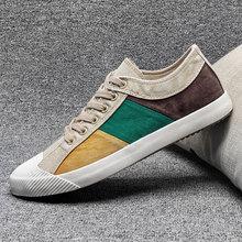 Nowe męskie płócienne tennisówki mieszane kolor brytyjska moda męska buty wulkanizowane wiosna jesienna patchworkowa tkanina buty męskie na płaskiej podeszwie tanie tanio okkdey PŁÓTNO CN (pochodzenie) Fabric ZSZYWANE Z patchworku Na wiosnę jesień Sznurowane Mieszkanie (≤1cm) Dobrze pasuje do rozmiaru wybierz swój normalny rozmiar