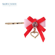 Sansummer 2019 New Hot Fashion Pendant Heart Silk Bowknot Girl Romantic Feautiful Personality Hair Clip For Women Jewelry