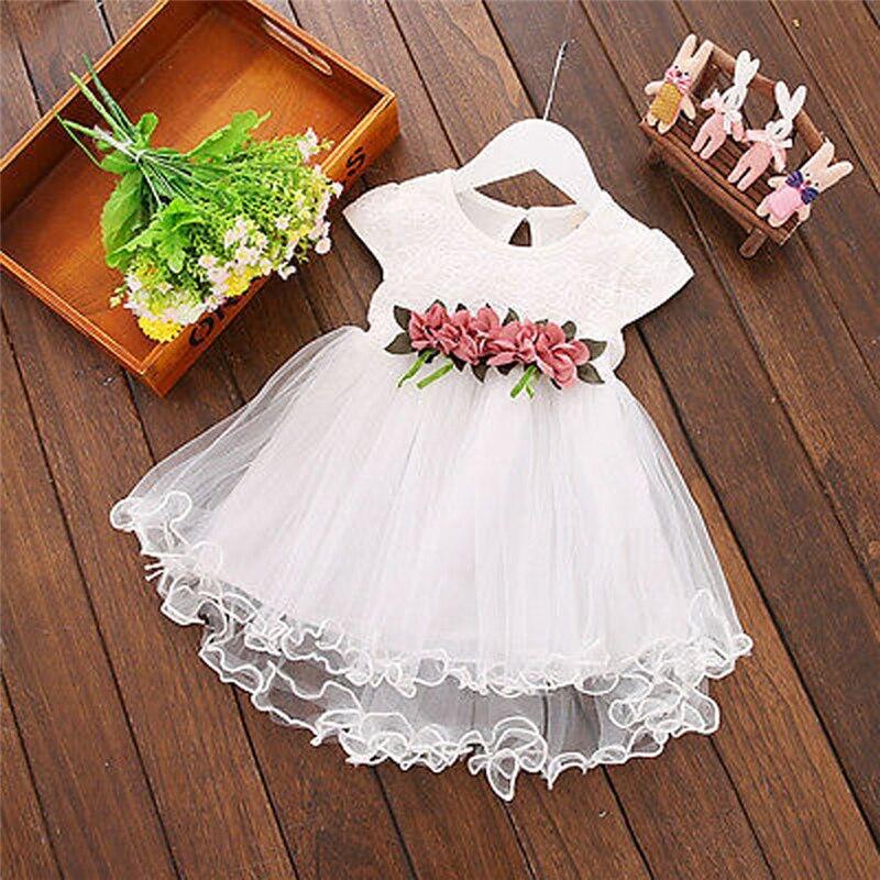 2020 verano niño niños bebé niñas vestido sin mangas vestido de Color liso tutú princesa de encaje vestido de las muchachas de flor vestido de fiesta