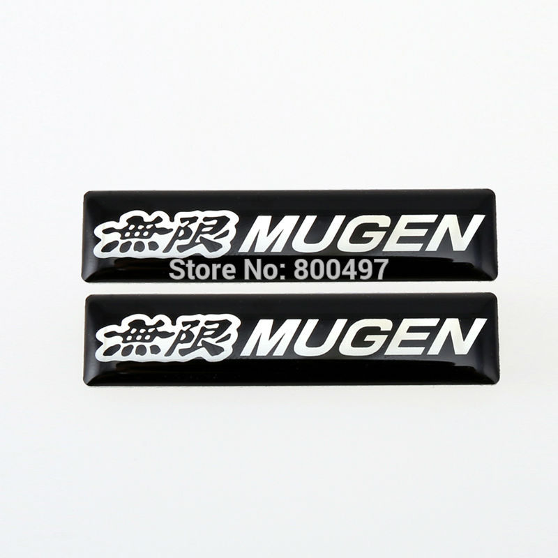 2 X Newest 3D Car Styling Aluminum Glue Decal Car Trunk Emblem Car  Adhesive Badge For Mugen