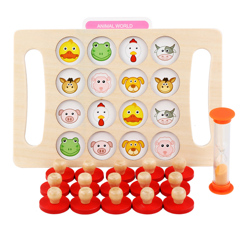 Kids Wooden Toys Memory Match Chess Game Baby Early Educational Toys Family Party Casual Puzzles Training Game Toy For Childre