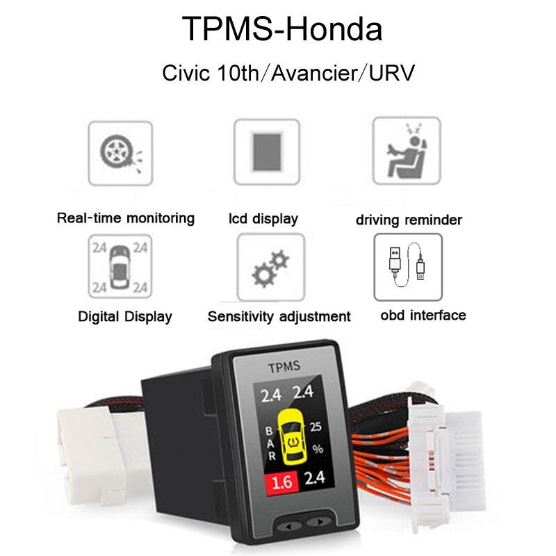 Auto OBD TPMS LCD reifendruck überwachung-system echt-zeit Für Honda Avancier URV CRV 10th Accord Civic