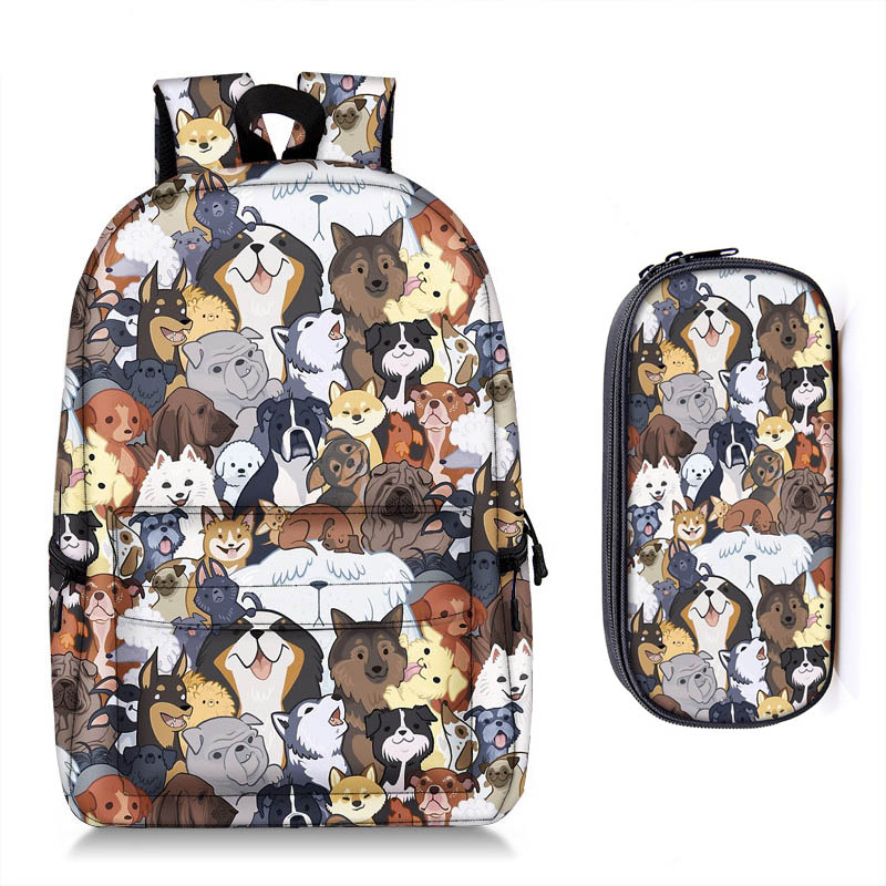 Cute Kitten Cats / Puppy Dogs Print Backpack + Pencil Bag for Teenager Boy Girl Children School Bags Kids Bookbag Women Backpack