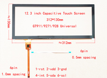 12.3inch Capacitive Touch Screen Digitizer Sensor Long bar screen For Car Radio 312*130mm 6pin 1.0mm 0.5mm image