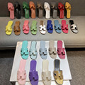 H Slippers Women's Summer 2021 New Wild Leather Slippers Travel Wear Flat Beach Shoes Fashion Wild Women's Shoes 34-42 Logo