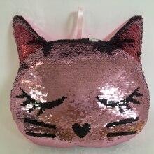Откидная блестящая кошка 33 см, плюшевые игрушки, мягкая подушка, блестящая кошка, мягкие животные, диванная подушка, креативные подарки для малышей