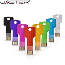 JASTER Custom logo USB pen flash drive 4GB 8GB 16GB 32GB 64GB metal drive pendrive memory stick key shape