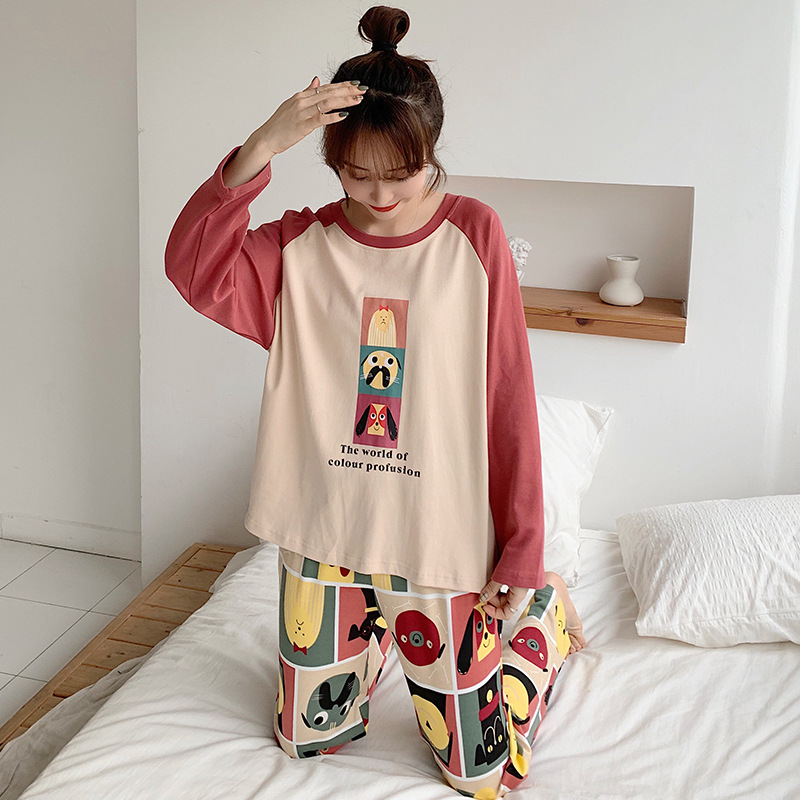 Spring New Style Pajamas Women Long Sleeve Trousers Cartoon Large Size Cotton Homewear Set Silk Filament Linen M -Xxxl