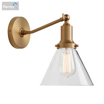 Permo Industrial Vintage Slope Pole Wall Mount Single Sconce with Funnel Flared Clear Glass Shade Wall Sconce Light Lamp Fixture