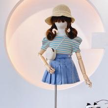 Summer Girls' Clothing Sets European & American Striped Top+ Denim Skirt Pants 2PCS Baby Kids Clothes Suit Children Clothing