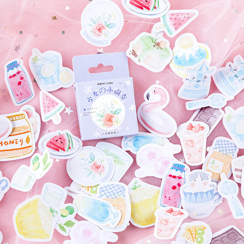 46Pcs Cute Flamingo Fruit Stickers Kawaii Stationery Stickers Paper Adhesive Sticker For Kids Decor Scrapbooking Diary Supplies
