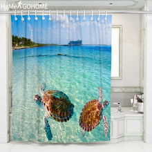 Sea Turtle Printed 3D Shower Curtain douchegordijn landschap Waterproof Fabric Bathroom Shower Curtain Bath Home tenda doccia waterproof snowman printed bath christmas shower curtain
