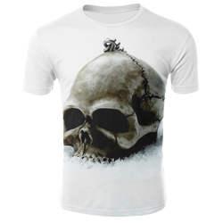 Модная белая футболка 3D череп футболка мужская Топ летняя футболка Качество Camiseta короткий рукав o-образным вырезом хип хоп Прямая поставка