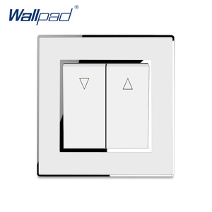 Curtain Switch 2 Gang Reset Switch Momentary Contact Wallpad Luxury Acrylic Panel With Silver Border