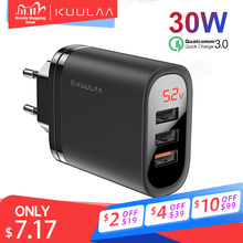 KUULAA Quick Charge 3 USB Charger 30W QC 3.0 Fast Charging LED Display usb Plug Wall Phone Charger US EU UK For iPhone  Xiaomi