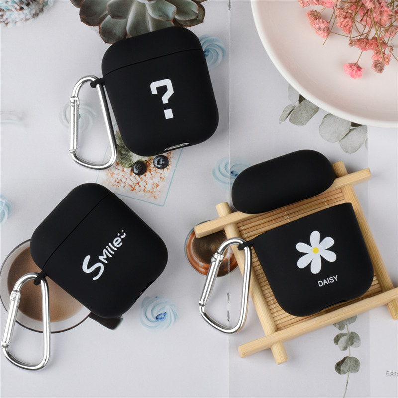 OTTWN For <font><b>Apple</b></font> <font><b>Airpods</b></font> 1 2 Silicone Case PC Cute Smiley Face Simple Earphone Hard Case Protection Portable Earphone Case Scrub image