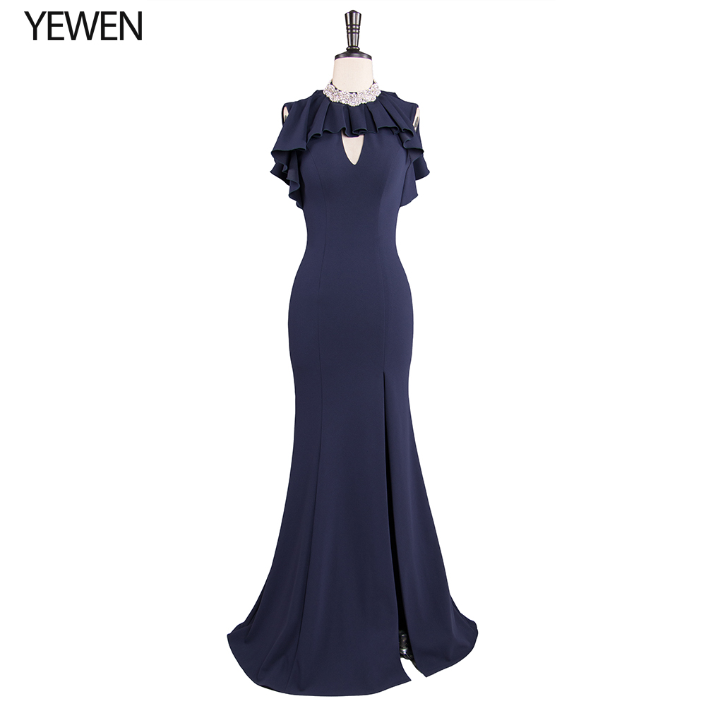 High Neck With Ruffles Evening Dress Long 2019 Mermaid Prom Dresses Elegant Women Strech Satin Crystal Corset Back Gown