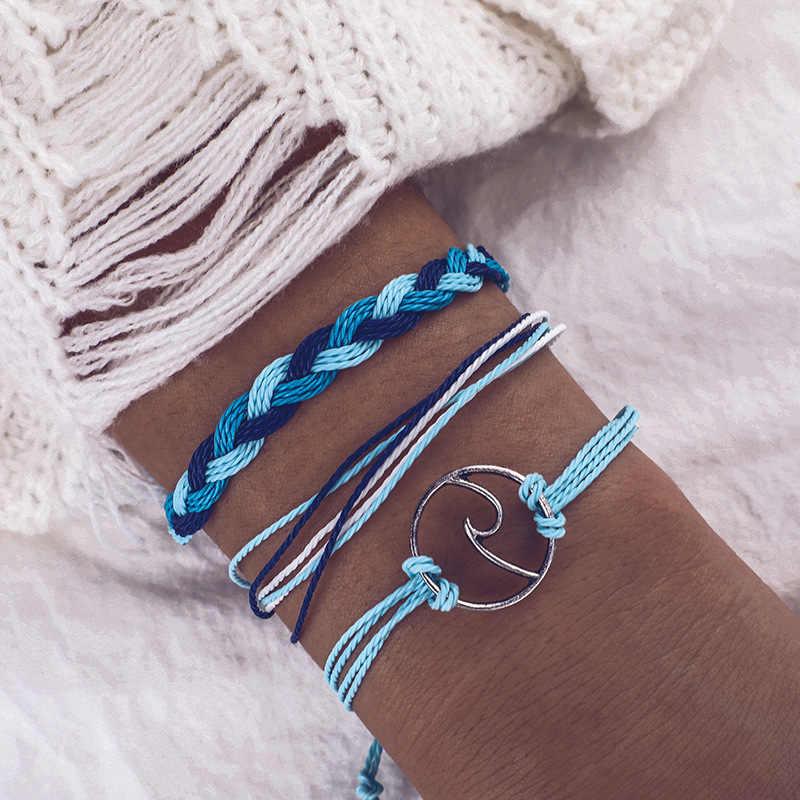 Pulsera trenzada de hilo de cera de estilo bohemio para mujer, brazalete de hilo hecho a mano de espuma ondulada de aleación, pulseras de amistad de moda