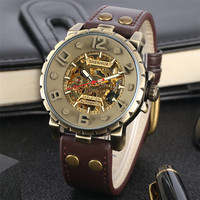 Vintage Bronze Mechanical Men Watch Automatic Self Winding Mens Watch Genuine Leather Wristwatches Best Gifts for Male