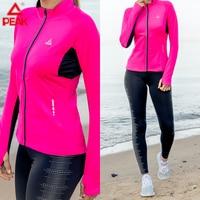 PEAK Female Running jacket Yoga Long Sleeve Coats Winter Sport Gym Fitness Jogging Top Quick dry Comfortable Sportswear