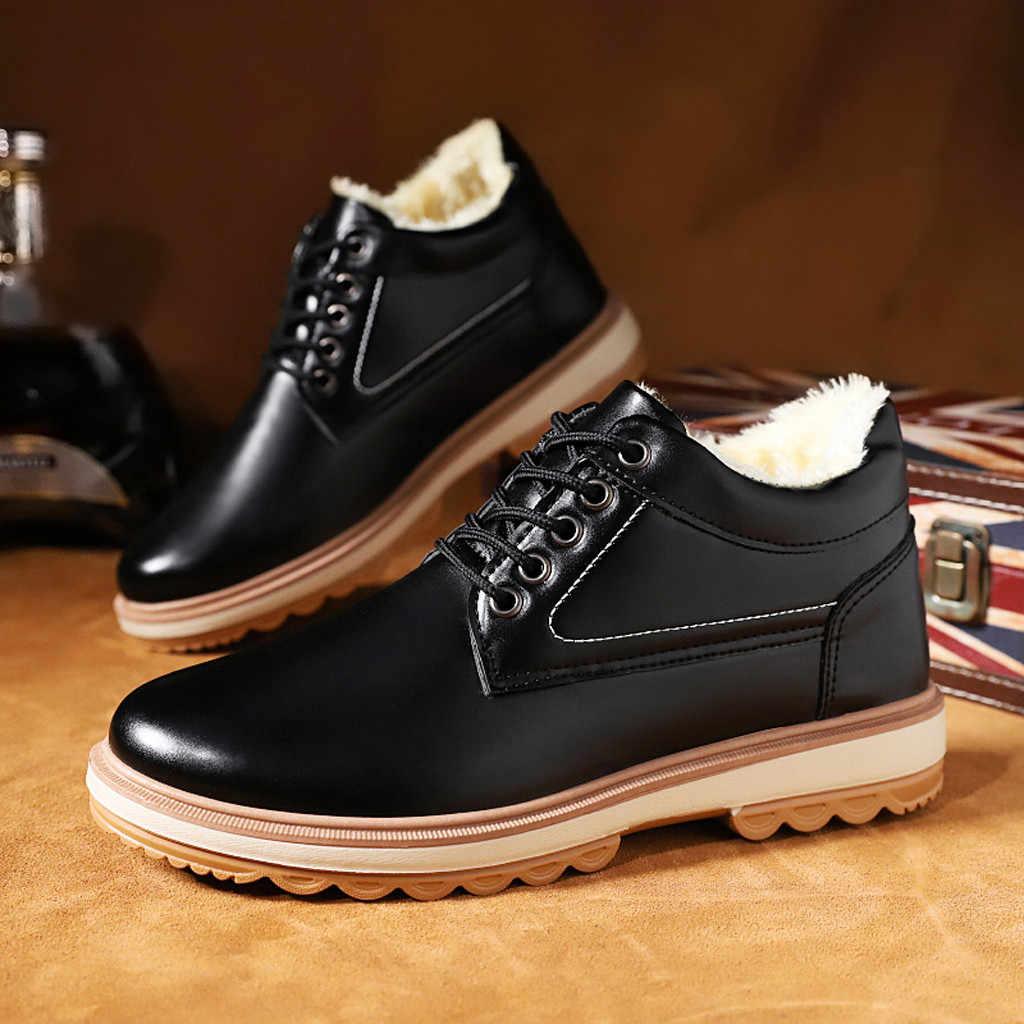 Four Seasons ผู้ชายผู้ชายรองเท้าสบายๆอังกฤษรองเท้า Elegant ฤดูหนาว SLIP กับขนสัตว์ snow BOOTS