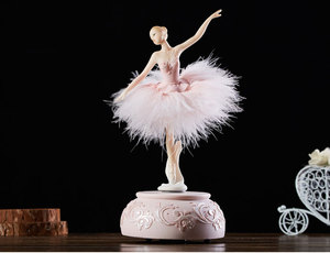Image 4 - Elegant Ballerina Dancing Girl Music Box Swan Lake Carousel Feather Musical Box Wedding Birthday Gift for Girls Friend