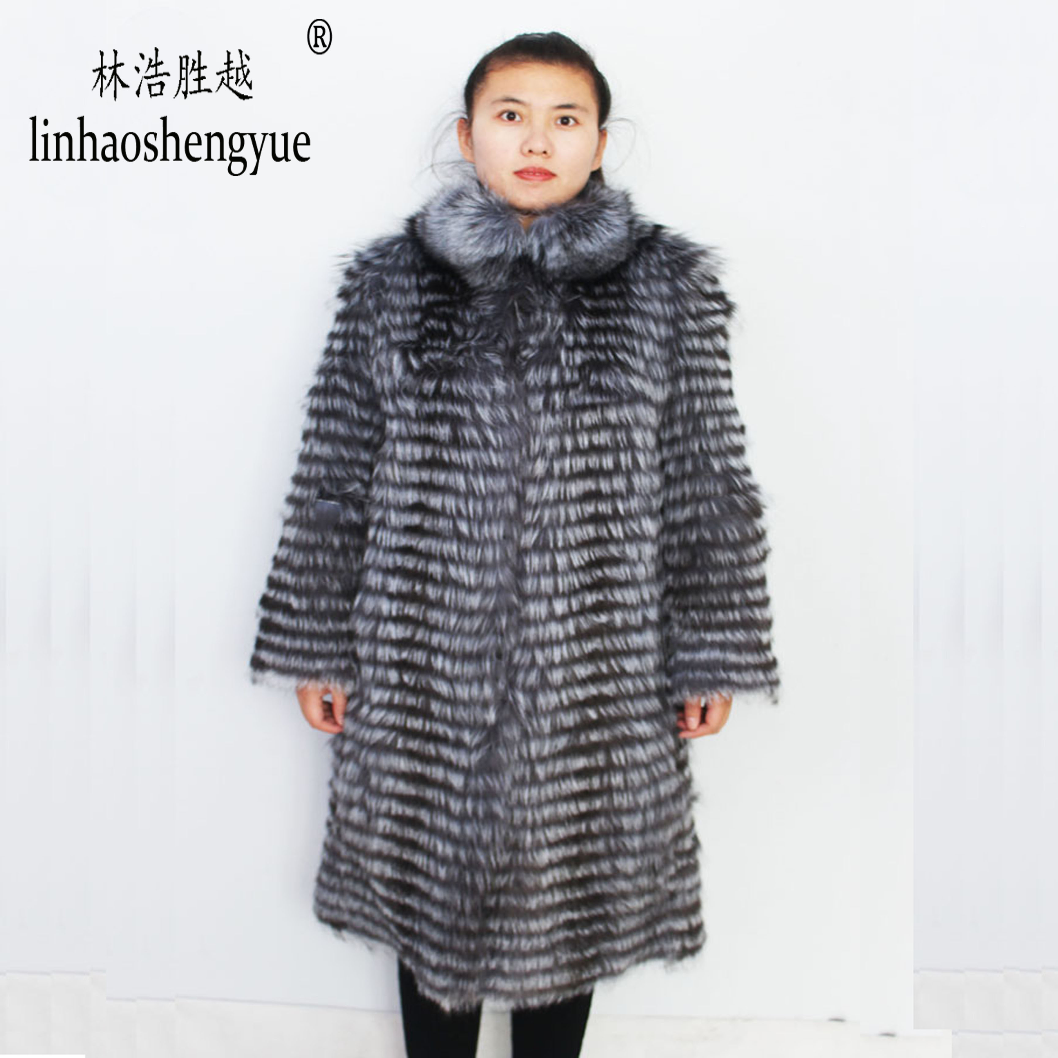 Image 2 - Linhaoshengyue  90cm long real Silver fox red  fox nature fur coat   Wool  knit liner,stylish stand collarReal Fur   -