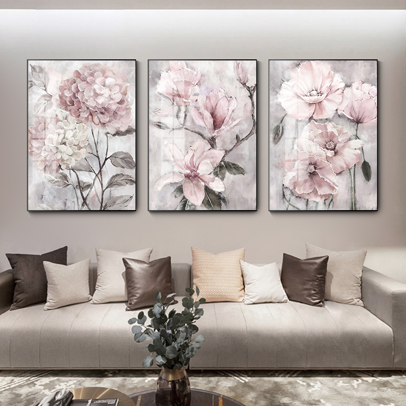 Flower Wall Art Canvas Painting Pink Floral Posters Print for Nordic Bathroom Living Room Home Wall Decor Pictures Farmhouse