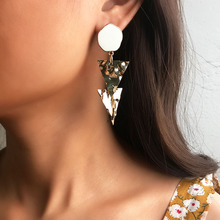 цена на Fashion Elegant Earrings For Women Creative Simple Geometric Triangle Shape Goldern Shining Alloy Drop Earrings Female