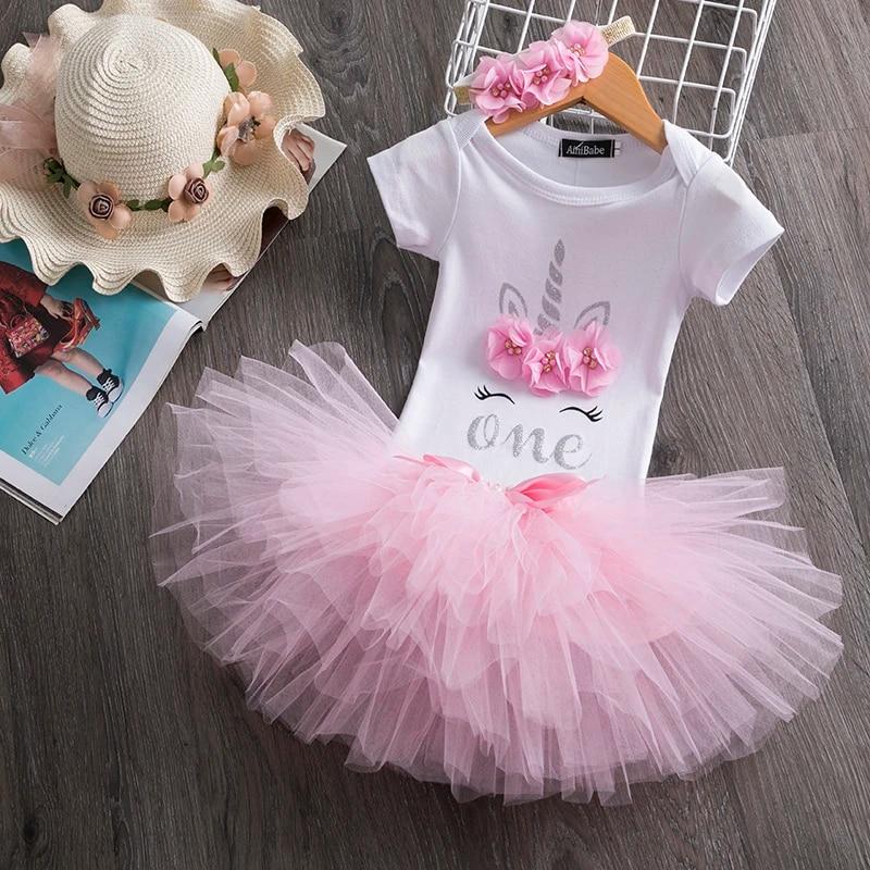 Baby Girls First Birthday Dresses Holy Unicorn Elegant Little Princess Clothing Infant Vestidos 3pcs Bebes Dress To 1 Year Baby Dresses Aliexpress