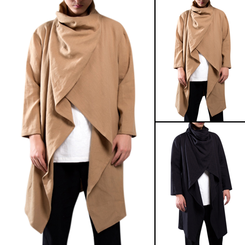 Chinese Vintage Men Trench Coat Cotton Long Sleeve Scarf Collar Hip-hop Jacket Coats Men Cloak Outerwear Punk Style Streetwear