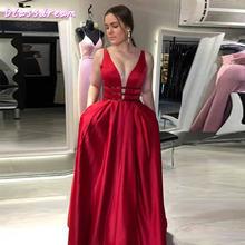 2020 винно красные атласные платья для выпускного вечера с v