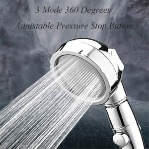 Shower-Head Water-Saver Bath Adjustable Pressure-Stop-Button 3-Mode 360-Degree Rotating