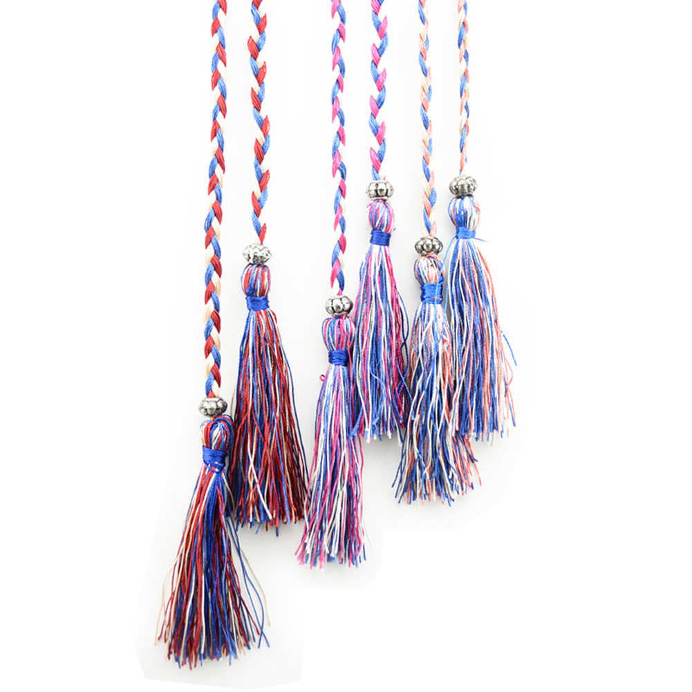 Women Bohemia Style Braided Tassel Belt Fashion Ladies Woven Knot Decorated Waist Chain Waist Rope Accessories Dress Belt