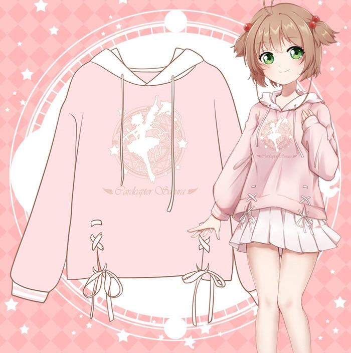 Cardcaptor Sakura KINOMOTO SAKURA Cosplay Printed Sweater High Quality Pink Cute Hoodie Sweatshirt