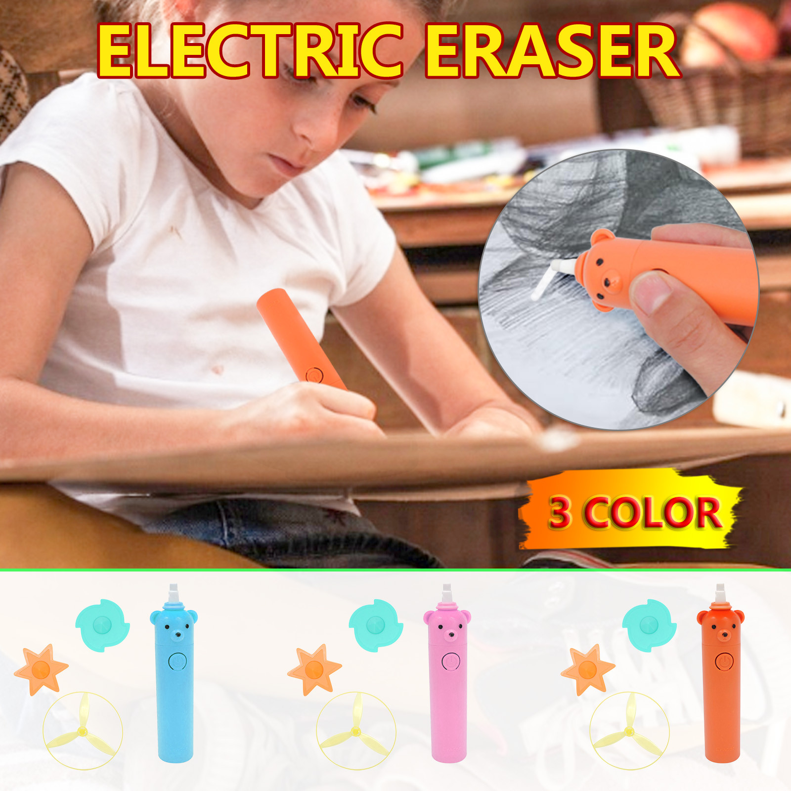 Sketch Highlight Electric Eraser Children's Drawing And Writing Electric Eraser Automatic School Supplies Leather Stationery New