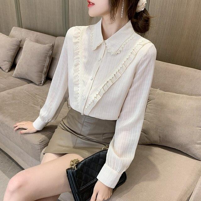 New Spring Ladies Doll Collar Shirt Long Sleeve Chiffon Shirt Fashion Lace Bottoming Shirt Ruffled Top Women Blouses 2