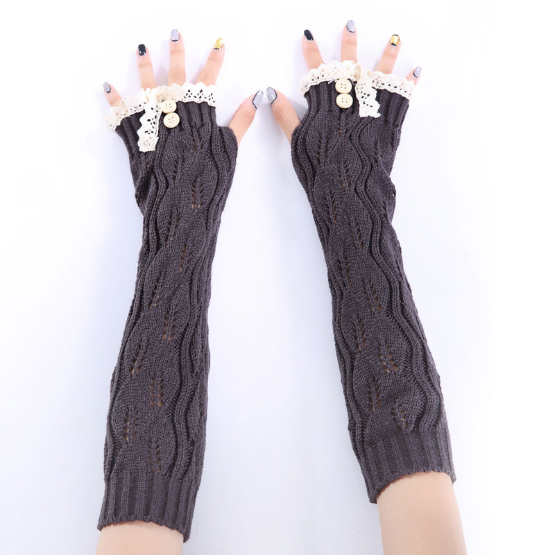 Newly 1pair Fashion Ladies Winter Arm Warmer Fingerless Gloves Lace Button Knitted Long Warm Gloves Mittens For Women  FIF66