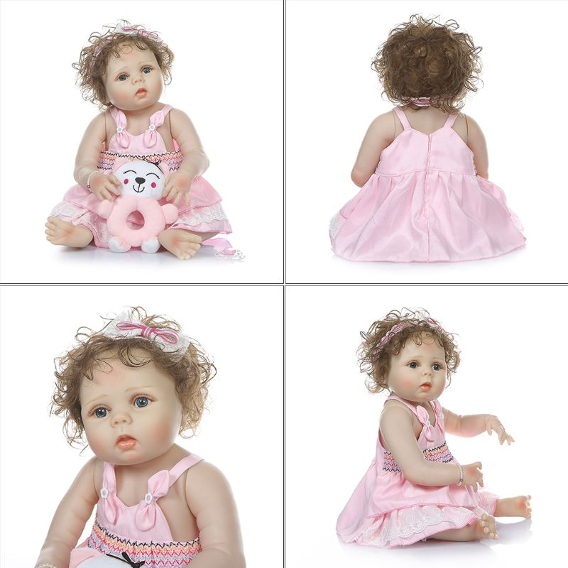 Capelli ricci ragazza bambola reborn 23 pieno silicone reborn baby dolls giocattoli per il regalo dei bambini bebe reborn menina bonecas morbida bambola BJD - 2
