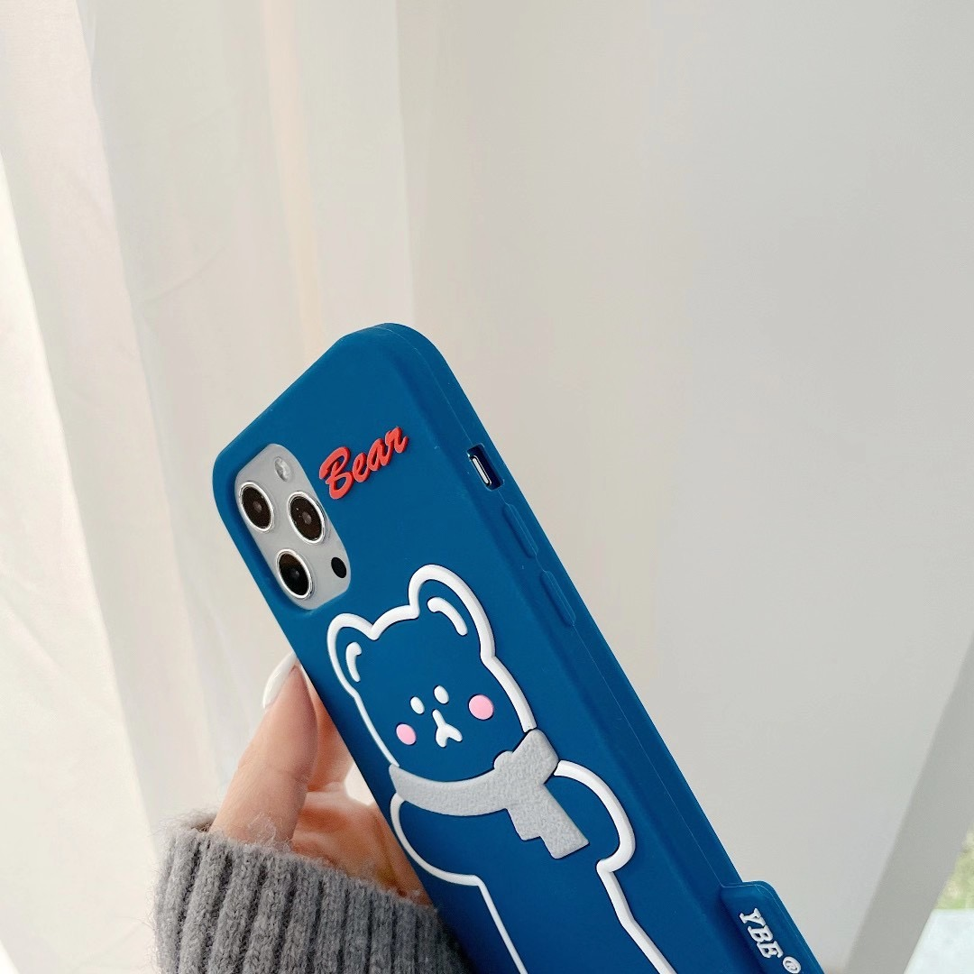 Silicone Soft Brunch Bear With Scarf Phone Case For iphone6/6S 78 Plus X/XS MAX 11/12Pro/SE Buy One Get Correspondent Ring Free 4
