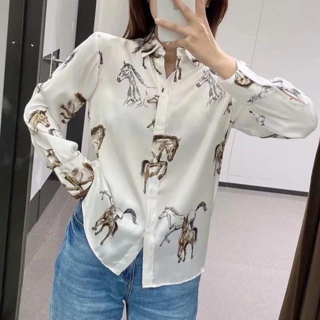 Satin Shirt with Horse Print